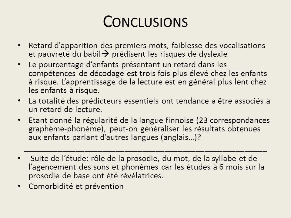 Conclusions Retard d apparition des premiers mots, faiblesse des vocalisations et pauvreté du babil prédisent les risques de dyslexie.