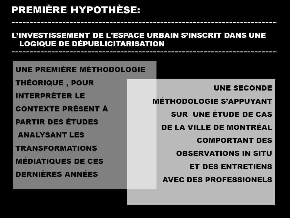 PREMIÈRE HYPOTHÈSE: L'INVESTISSEMENT DE L ESPACE URBAIN S'INSCRIT DANS UNE LOGIQUE DE DÉPUBLICITARISATION.
