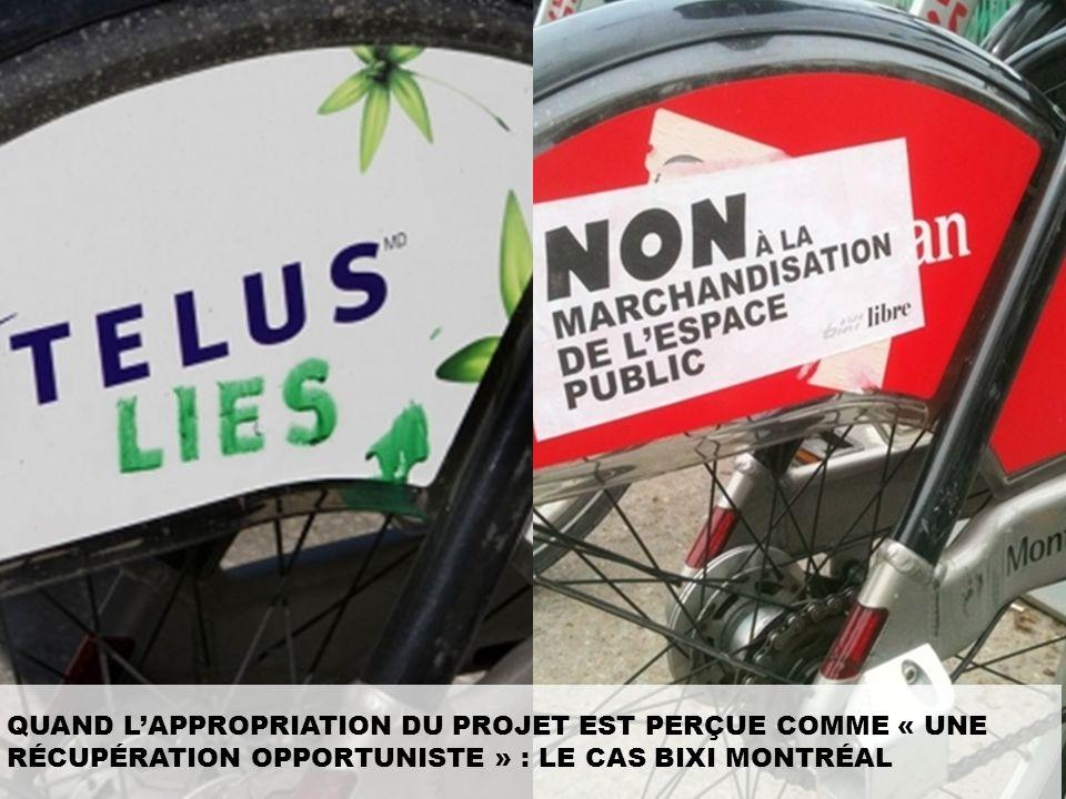 Bien que la démarche de Desjardin, Rio Tinto Alcan et Telus à Montréal relève de la dépublicitarisation, les Montréalais n'y voient qu'une nouvelle forme de publicité intrusive, et ne se privent pas de le faire savoir en vandalisant les logos des vélos. Pour eux le financement représente d'avantage un achat médias qu'un réel investissement dans le projet, déjà parce que les sommes versées par les marques ne couvrent qu'une petite partie des frais de dépense du service, mais également parce que cela reflète une « appropriation » du projet plutôt qu'une vraie réflexion, les entreprises ayant simplement « récupéré » le projet pour faire valoir un soit disant engagement citoyen, elles ne se sont à aucun moment assises avec les pouvoirs publics et les usagers pour le mettre en place.