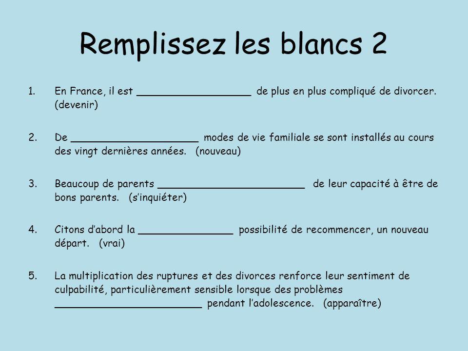Remplissez les blancs 2 En France, il est __________________ de plus en plus compliqué de divorcer. (devenir)