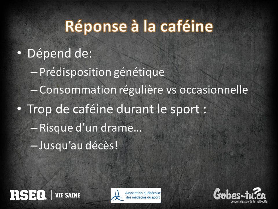 Réponse à la caféine Dépend de: Trop de caféine durant le sport :