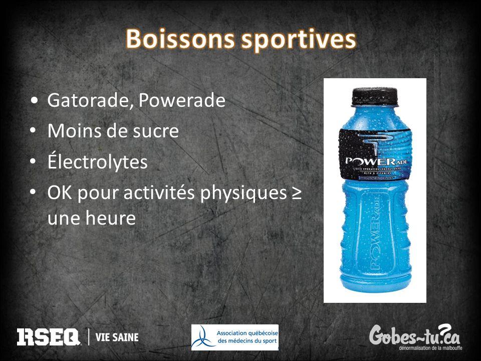 Boissons sportives Gatorade, Powerade Moins de sucre Électrolytes