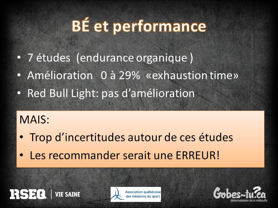 BÉ et performance 7 études (endurance organique )
