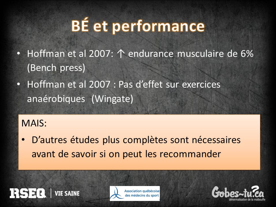 BÉ et performance Hoffman et al 2007: ↑ endurance musculaire de 6% (Bench press)