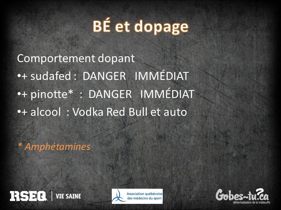 BÉ et dopage Comportement dopant + sudafed : DANGER IMMÉDIAT