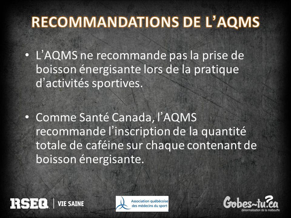 RECOMMANDATIONS DE L'AQMS