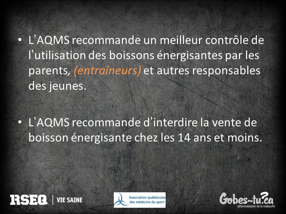 L'AQMS recommande un meilleur contrôle de l'utilisation des boissons énergisantes par les parents, (entraîneurs) et autres responsables des jeunes.