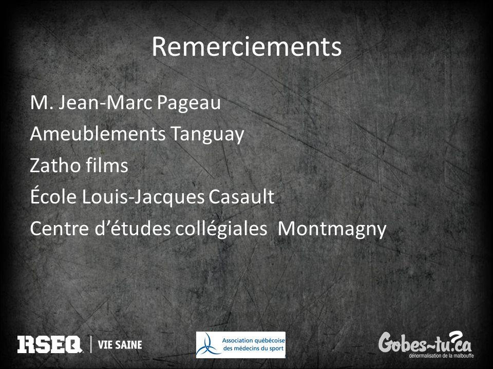 Remerciements M. Jean-Marc Pageau Ameublements Tanguay Zatho films École Louis-Jacques Casault Centre d'études collégiales Montmagny