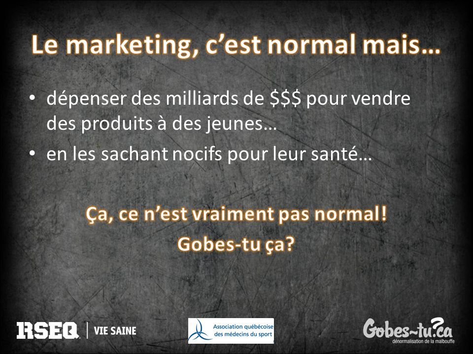 Le marketing, c'est normal mais…