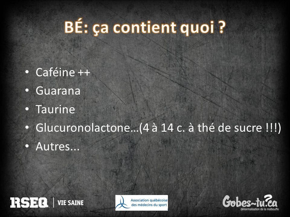 BÉ: ça contient quoi Caféine ++ Guarana Taurine