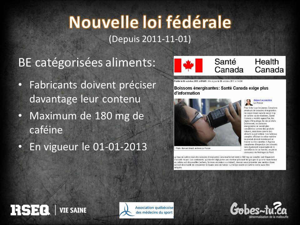 Nouvelle loi fédérale (Depuis 2011-11-01)