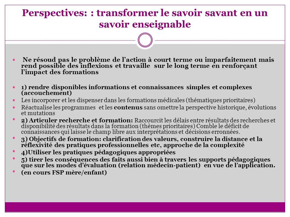Perspectives: : transformer le savoir savant en un savoir enseignable