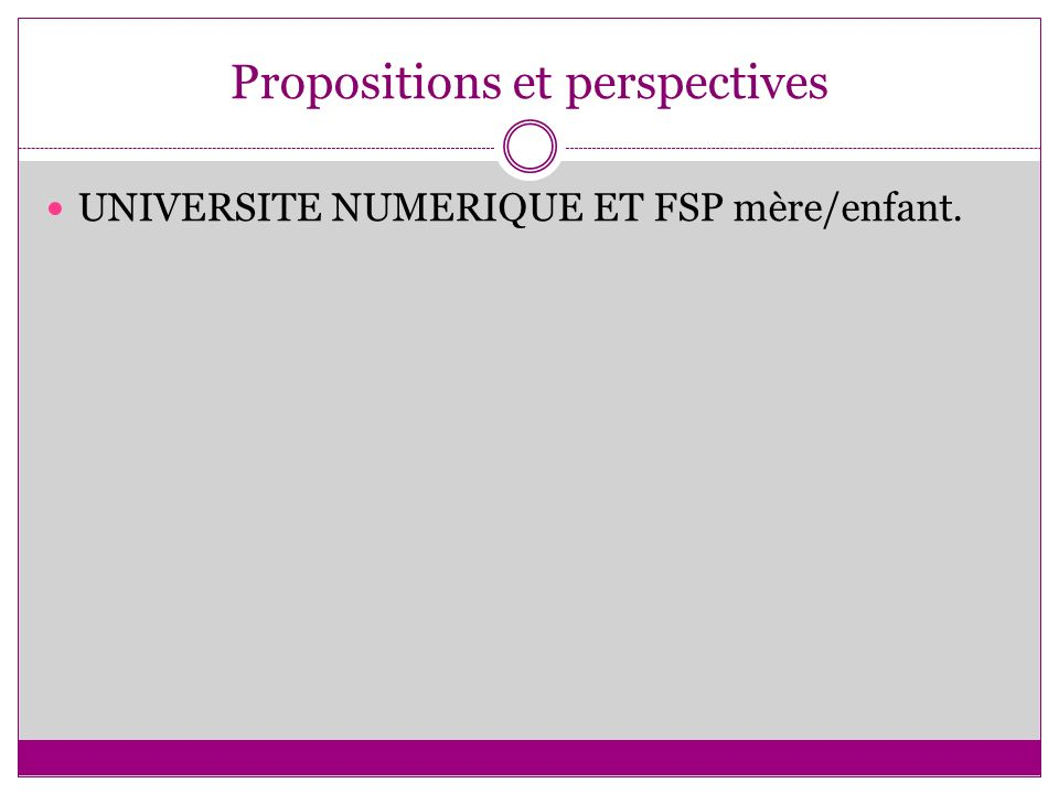 Propositions et perspectives
