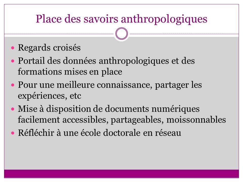 Place des savoirs anthropologiques