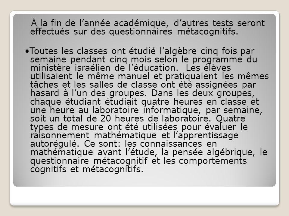 À la fin de l'année académique, d'autres tests seront effectués sur des questionnaires métacognitifs.
