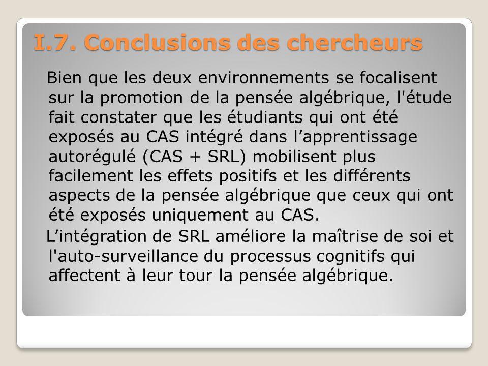 I.7. Conclusions des chercheurs