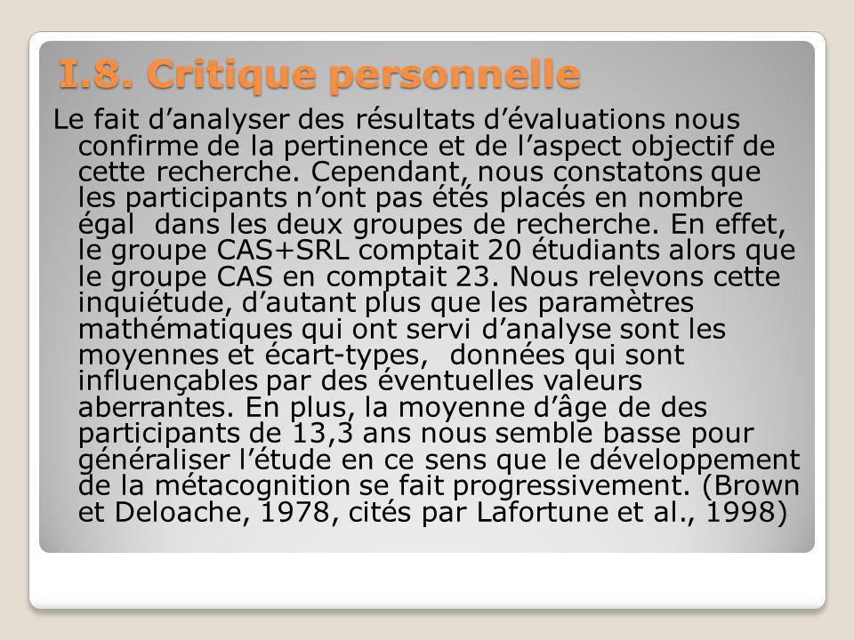 I.8. Critique personnelle