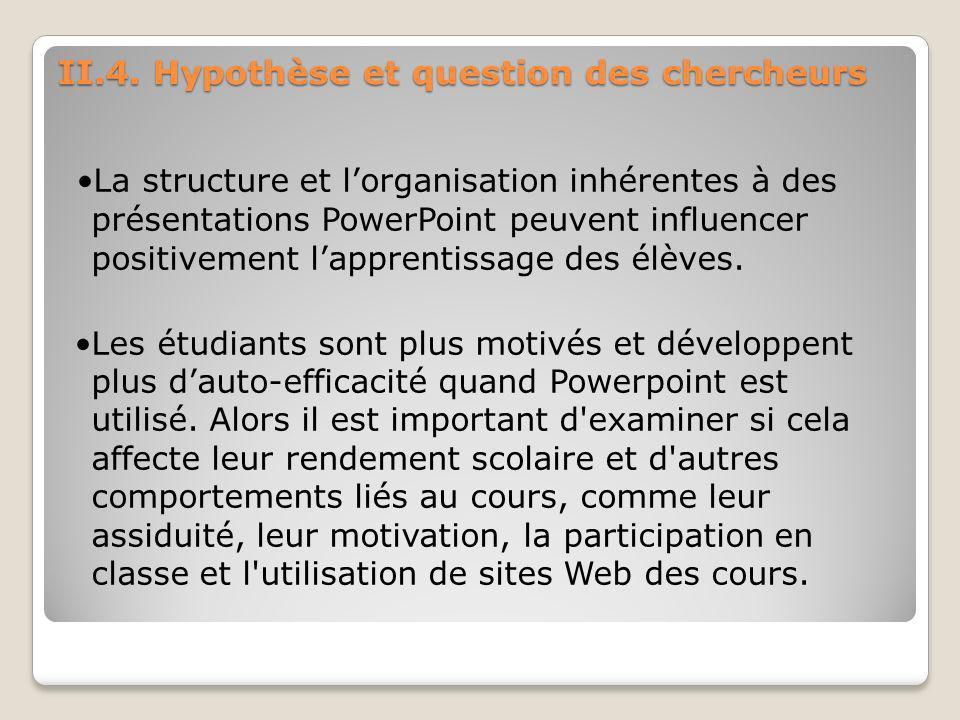 II.4. Hypothèse et question des chercheurs