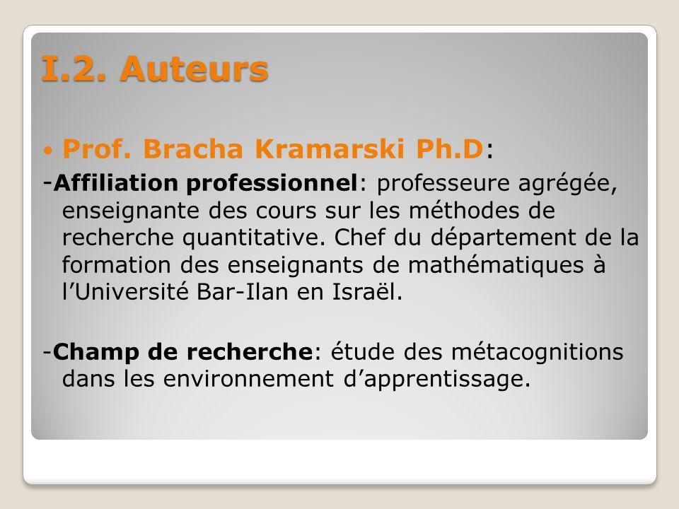 I.2. Auteurs Prof. Bracha Kramarski Ph.D: