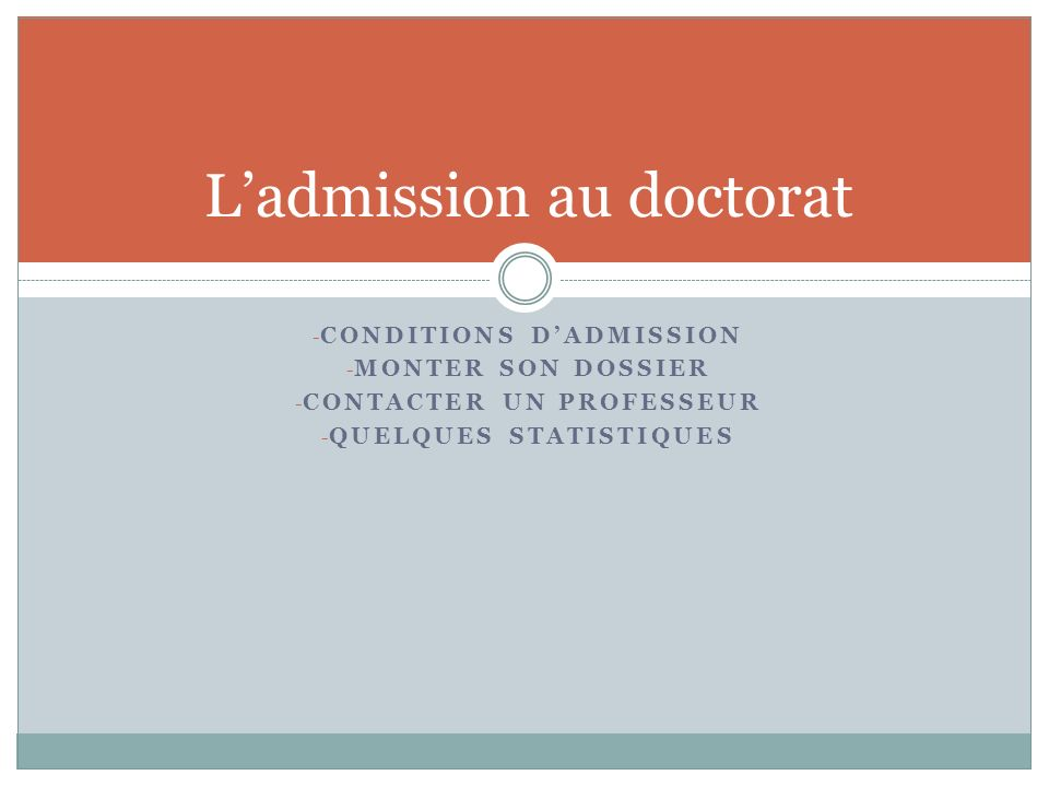 L'admission au doctorat