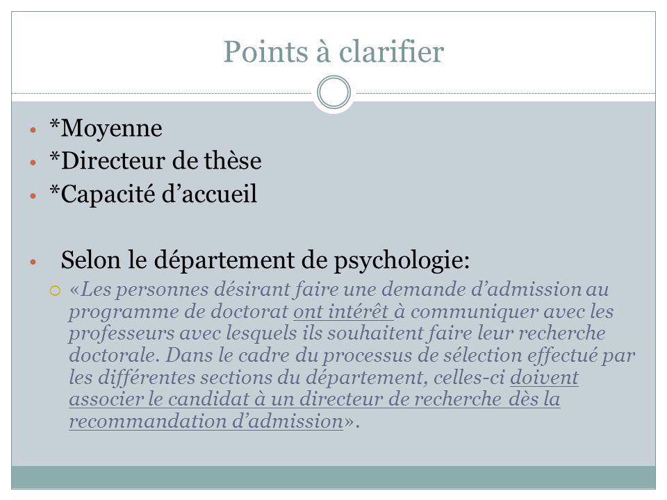 Points à clarifier *Moyenne *Directeur de thèse *Capacité d'accueil