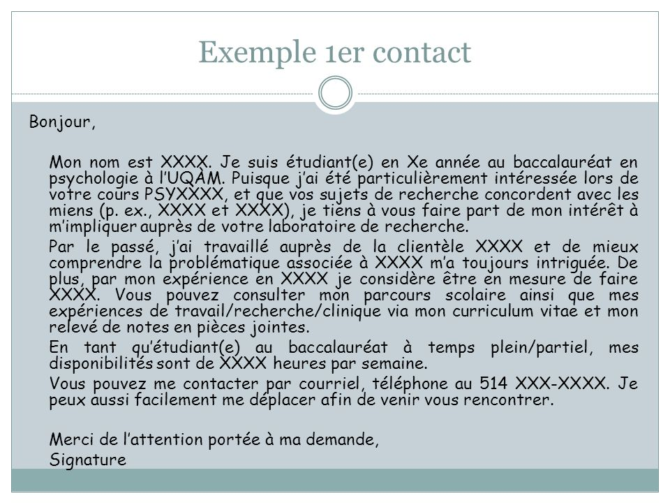 Exemple 1er contact Bonjour,