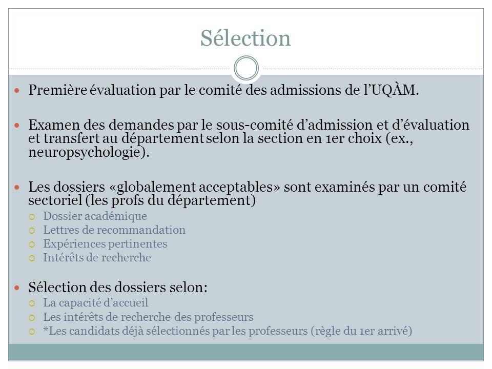 Sélection Première évaluation par le comité des admissions de l'UQÀM.