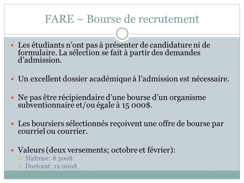 FARE – Bourse de recrutement