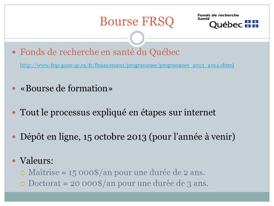 Bourse FRSQ Fonds de recherche en santé du Québec