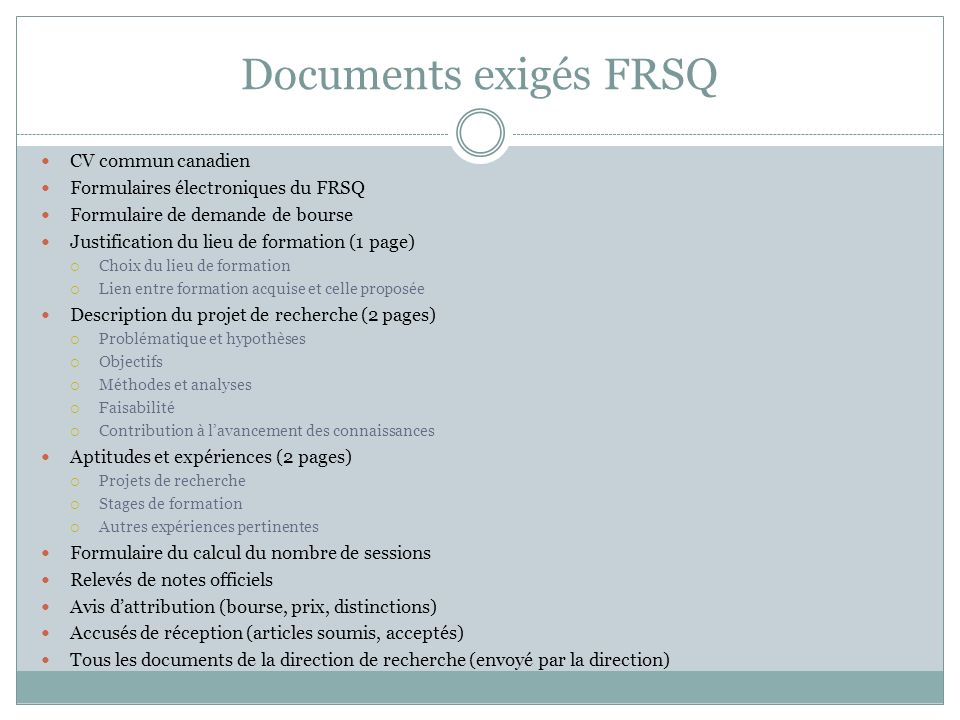 Documents exigés FRSQ CV commun canadien