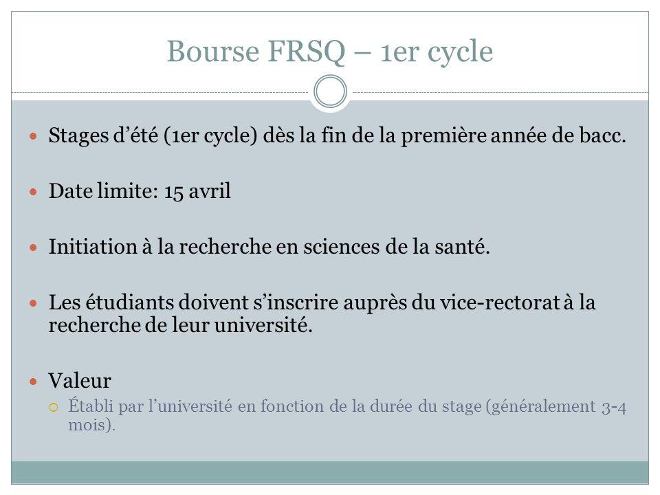 Bourse FRSQ – 1er cycle Stages d'été (1er cycle) dès la fin de la première année de bacc. Date limite: 15 avril.