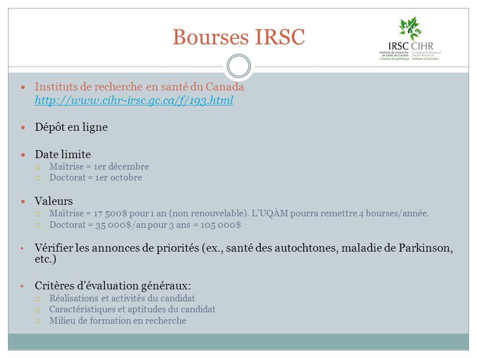 Bourses IRSC Instituts de recherche en santé du Canada