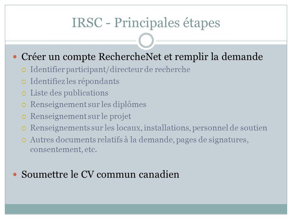 IRSC - Principales étapes