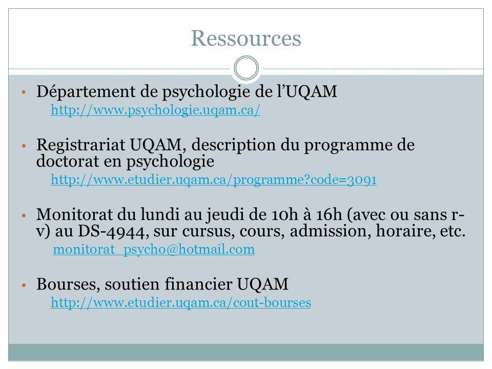 Ressources Département de psychologie de l'UQAM