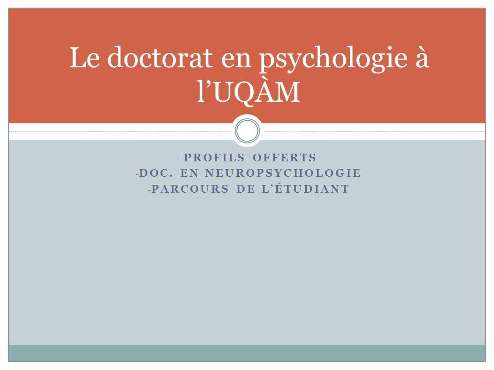 Le doctorat en psychologie à l'UQÀM