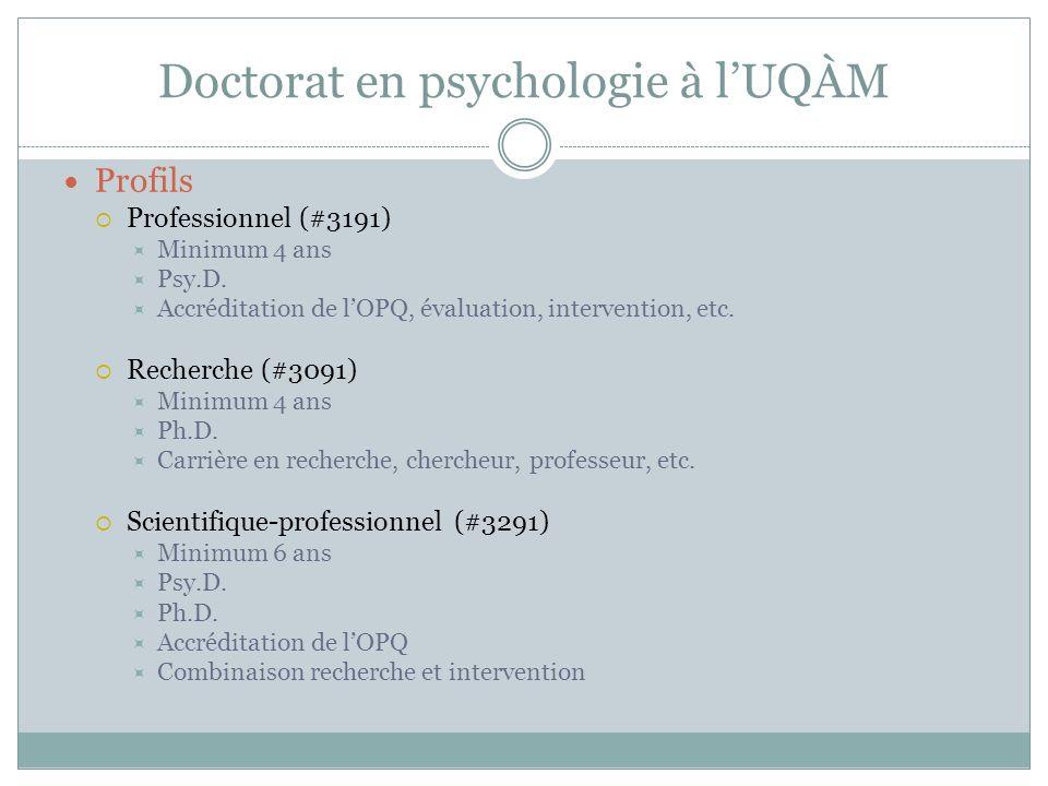 Doctorat en psychologie à l'UQÀM