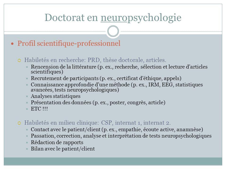 Doctorat en neuropsychologie