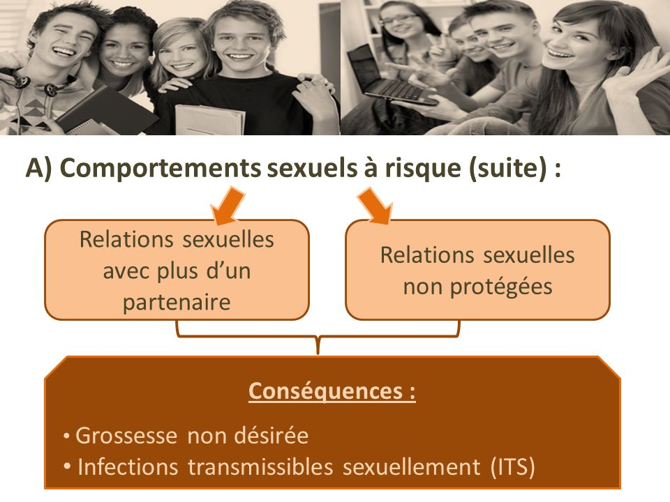A) Comportements sexuels à risque (suite) :