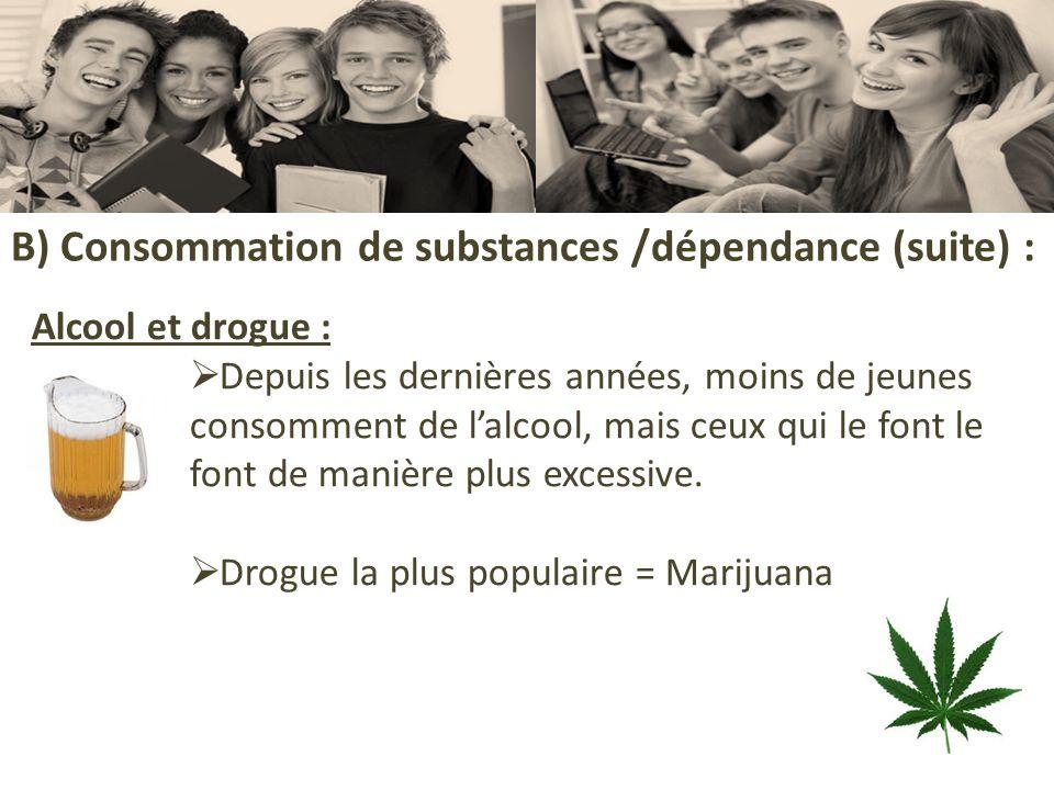B) Consommation de substances /dépendance (suite) :