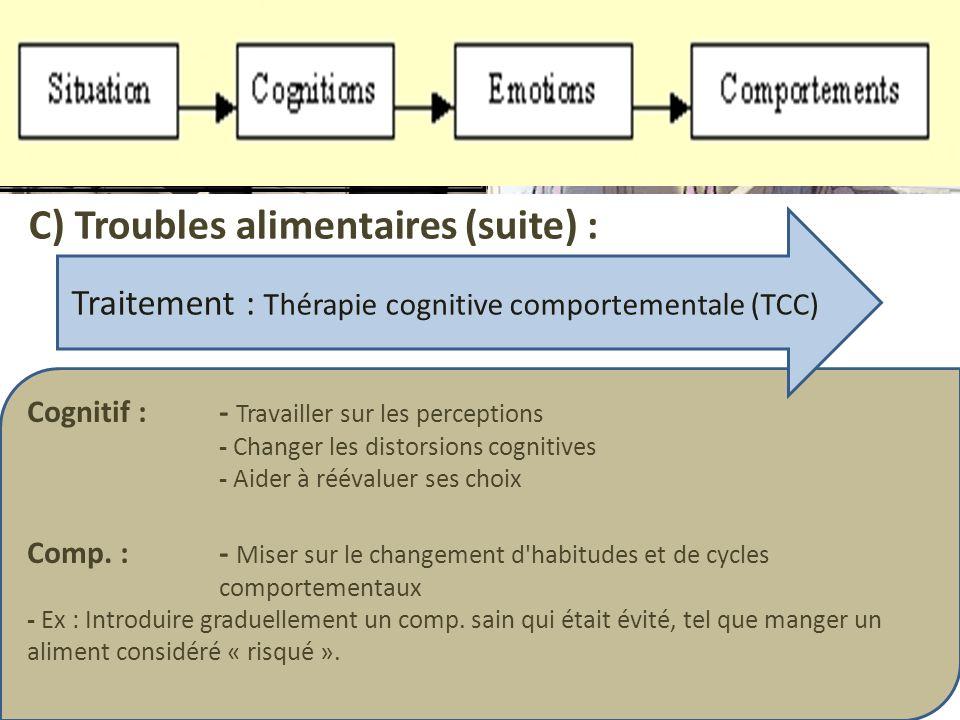 Traitement : Thérapie cognitive comportementale (TCC)