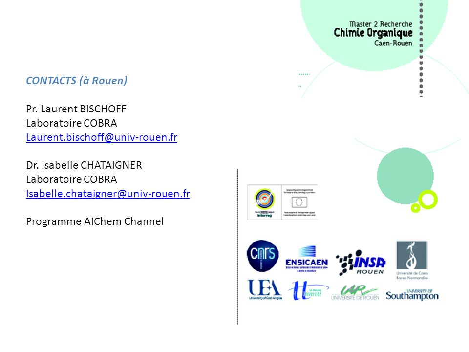 CONTACTS (à Rouen) Pr. Laurent BISCHOFF. Laboratoire COBRA. Laurent.bischoff@univ-rouen.fr. Dr. Isabelle CHATAIGNER.