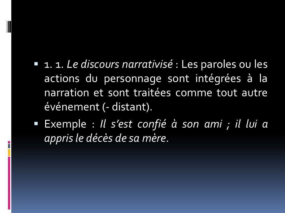 1. 1. Le discours narrativisé : Les paroles ou les actions du personnage sont intégrées à la narration et sont traitées comme tout autre événement (- distant).