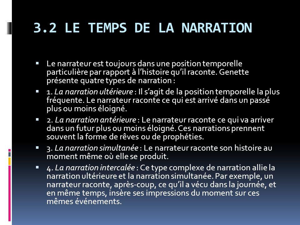 3.2 LE TEMPS DE LA NARRATION