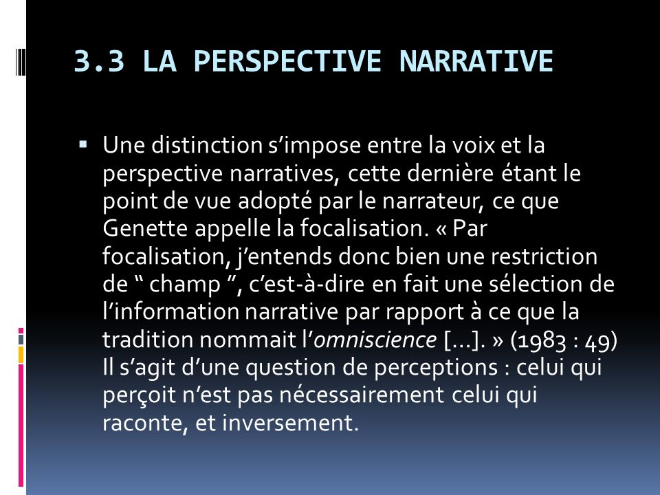 3.3 LA PERSPECTIVE NARRATIVE