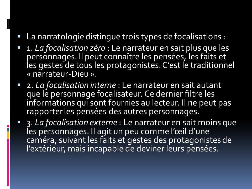 La narratologie distingue trois types de focalisations :