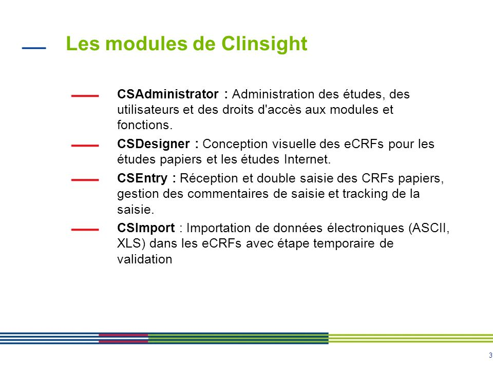 Les modules de Clinsight