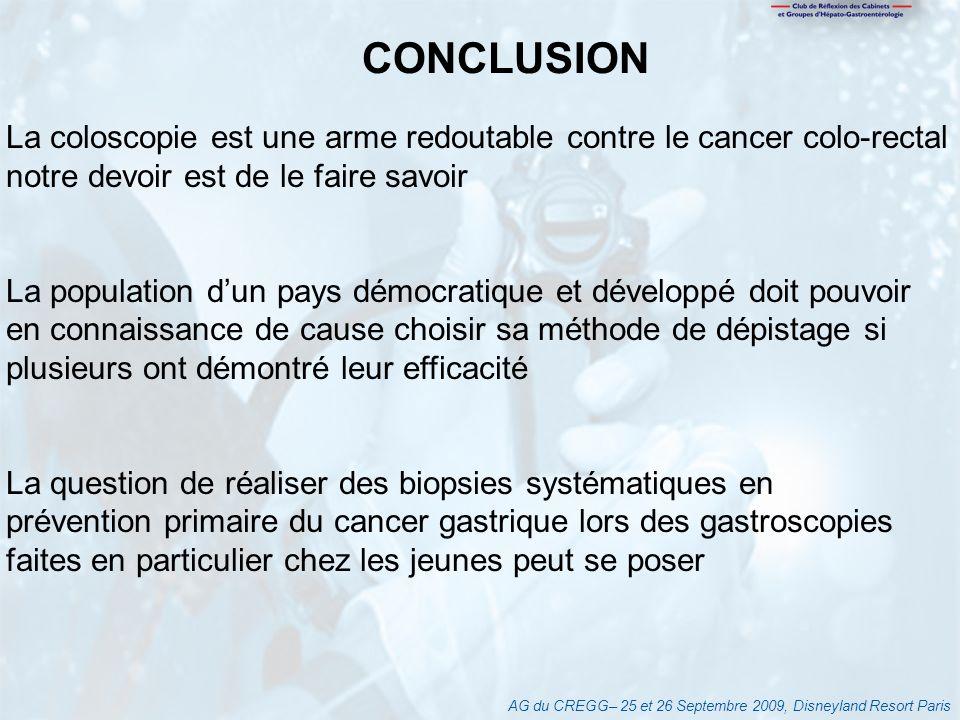 CONCLUSION La coloscopie est une arme redoutable contre le cancer colo-rectal. notre devoir est de le faire savoir.