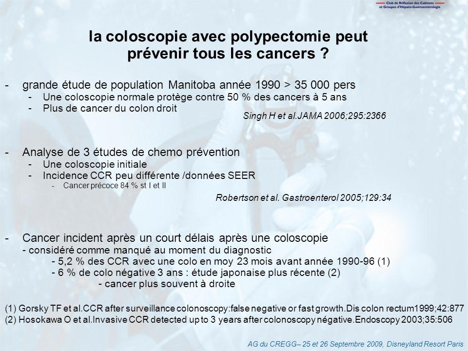 la coloscopie avec polypectomie peut prévenir tous les cancers