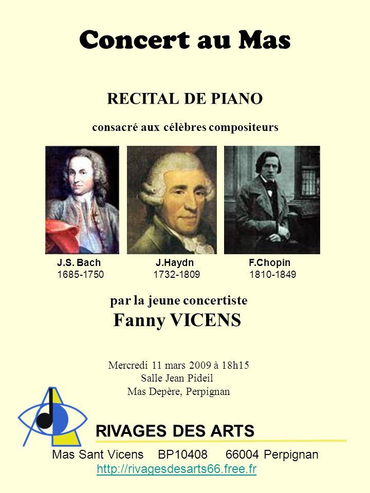 Concert au Mas Fanny VICENS RECITAL DE PIANO RIVAGES DES ARTS
