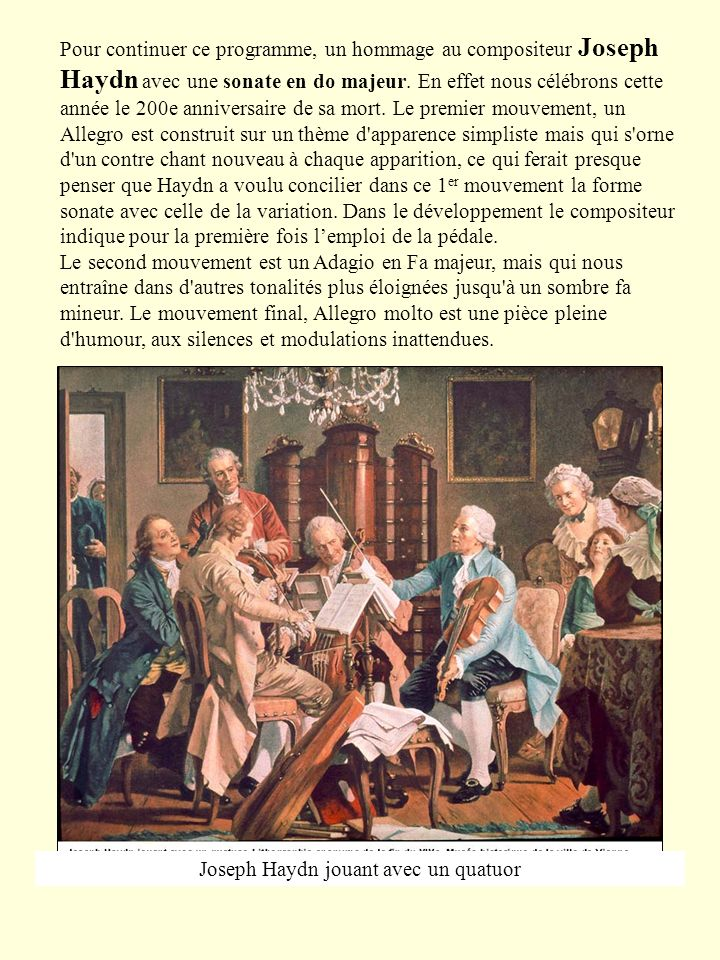 Joseph Haydn jouant avec un quatuor
